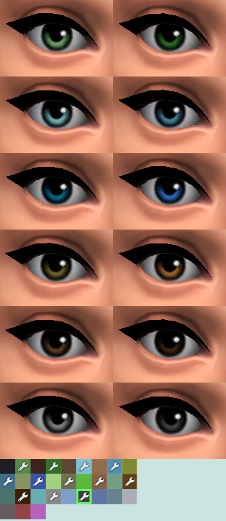 Mod The Sims - 12 Natural Colored Eye Swatches [Semi Maxis