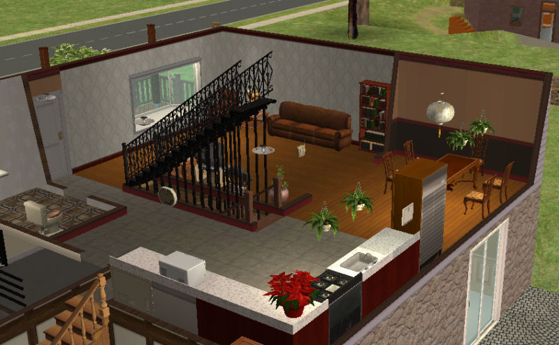 Mod the sims split level with walkout basement 107k for Split level house plans with walkout basement