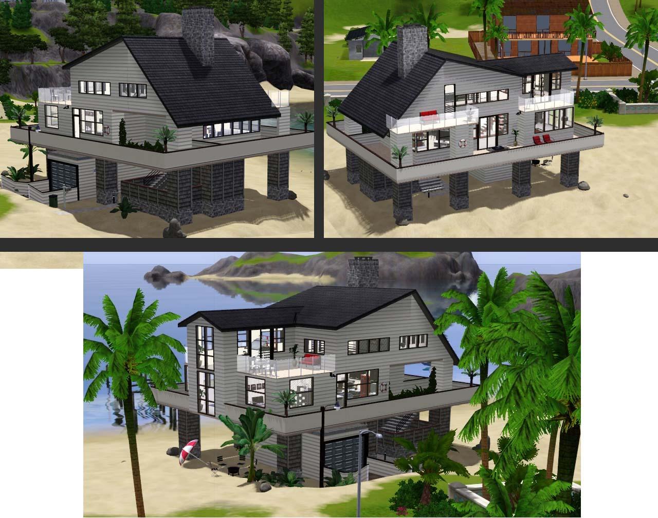 Mod the sims modern villa 3 modern beach villa for Beach house designs for sims 3