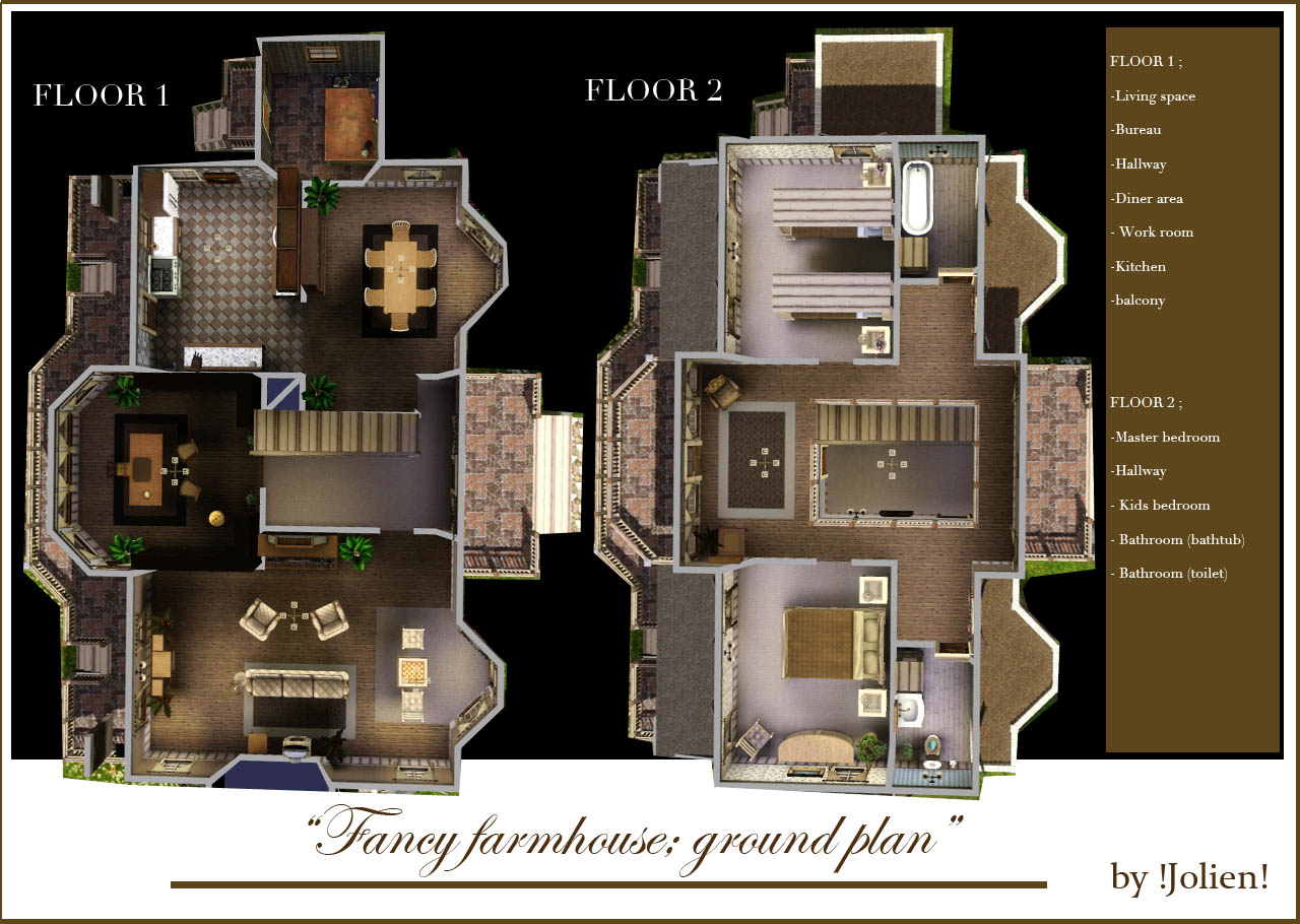 house floor plans no hallways. x Mod The Sims  Fancy farmhouse NO CC