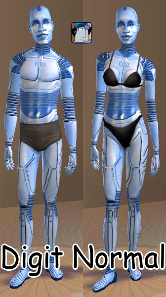 mod the sims - orange  blue coloured robot skins