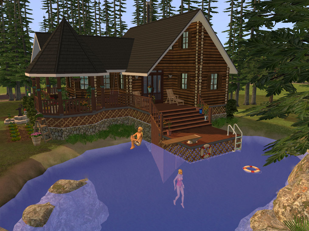 Mod the sims foundation challenge log cabin by the lake for Cabin lots