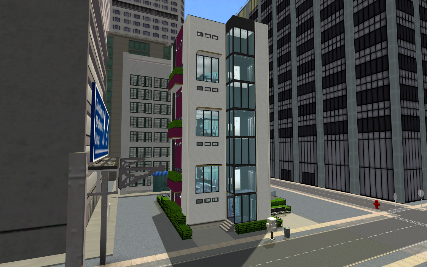 Modern Urban Apartment Building mod the sims - *rodney plaza* no-cc modern lux apartments building
