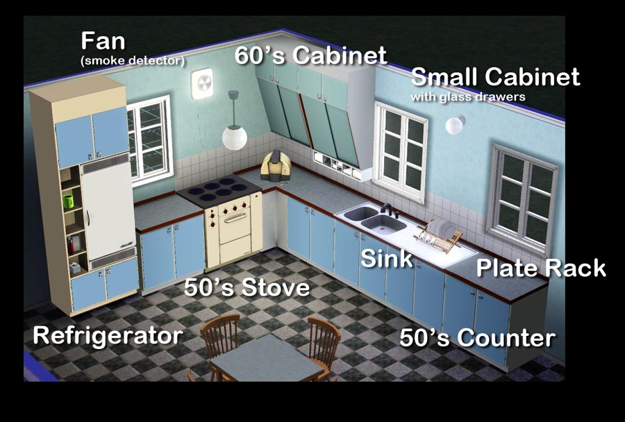 Mod The Sims - The 50's Kitchen