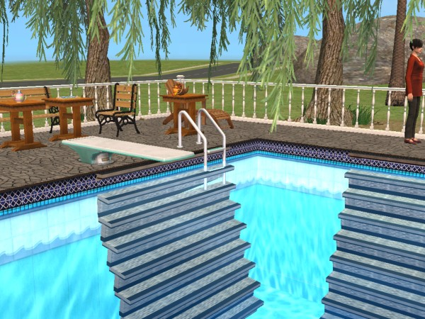 Mod the sims new mesh pool stair in and out for Pool design sims 3