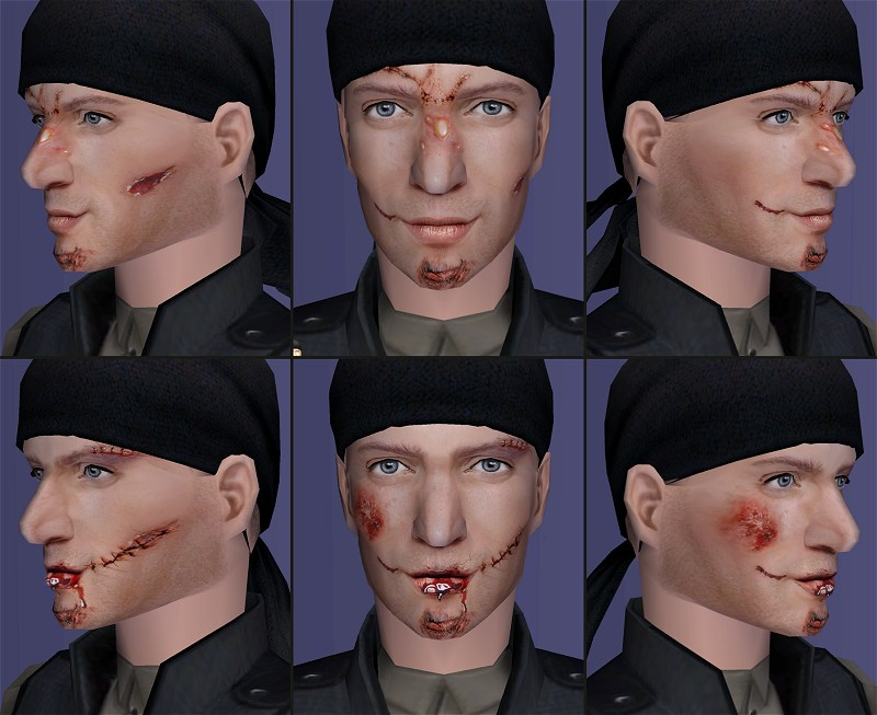 Mod The Sims - Bruised, Battered and Wounded - Blood FX masks