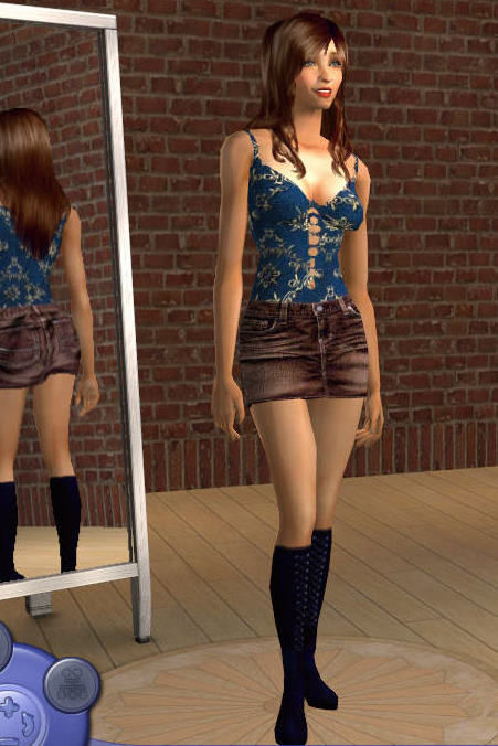 Mod The Sims - Brown Denim skirt with boots for warlokk meshes