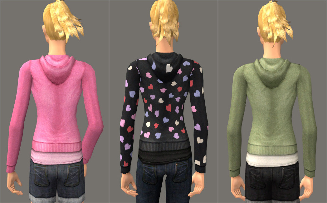 Mod The Sims - Sweet Separates: Untuckable Hoodies, Jean