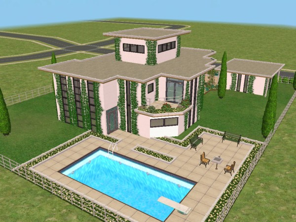 Mod the sims modeco house modern art deco no 2 for Sims 2 home designs