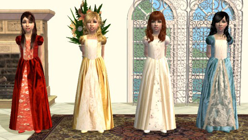 Mod The Sims - Four silk princess dresses for children.
