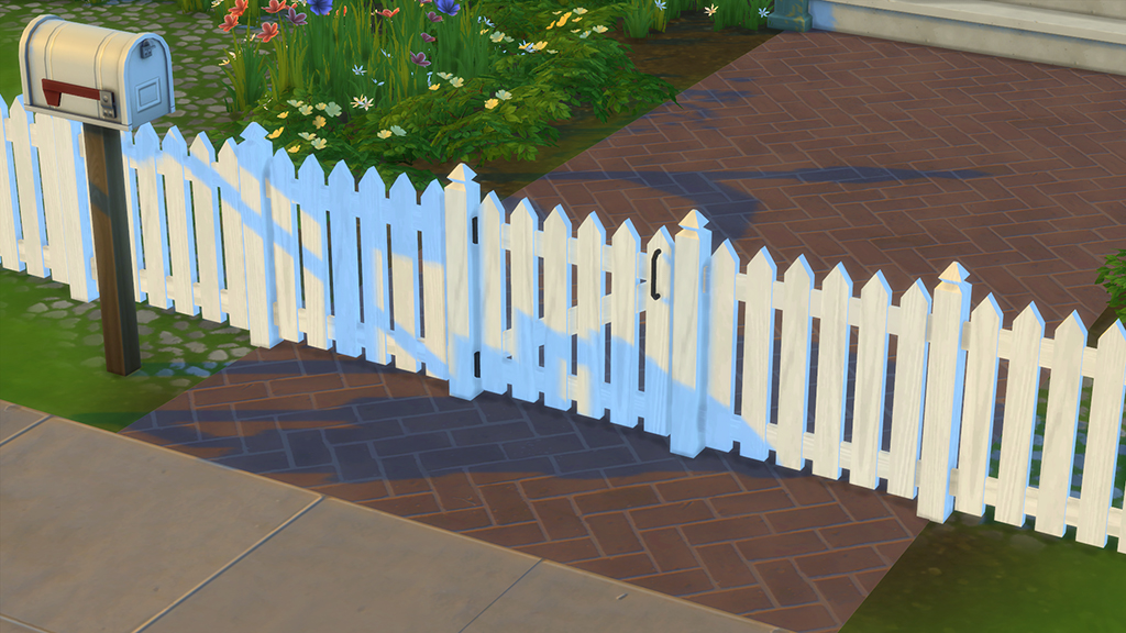 mod the sims white picket fence and gates. Black Bedroom Furniture Sets. Home Design Ideas