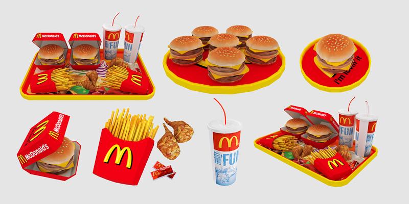 Sims  Cc Fast Food Set Cc