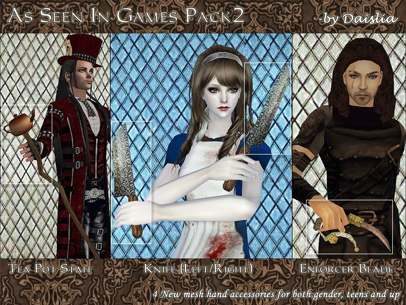 Mod The Sims As Seen In Games Weapon Accessories Pack