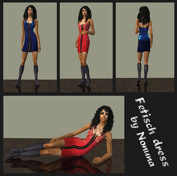 Red and blue fetish dress