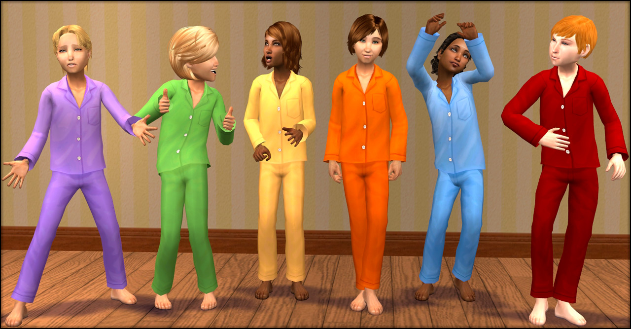 Mod The Sims Torches At Midnight Silky Pyjamas For Kids