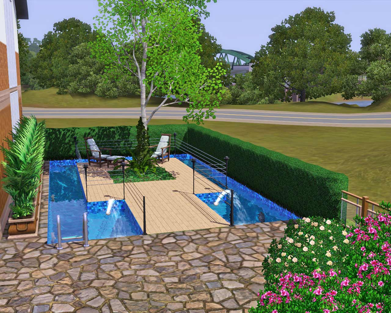 Mod the sims open plan living no cc for Pool design sims 3