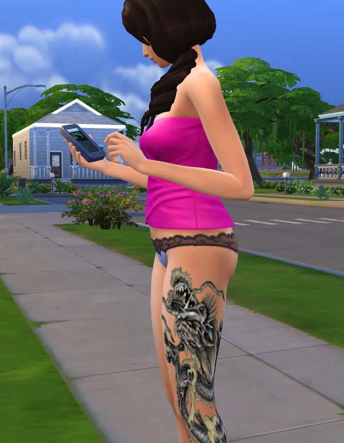 The Sims 4 Snake Thigh Tatoo: Crawling Dragon Leg Tattoo