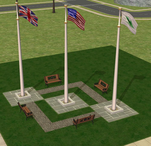 Mod The Sims Tri Nation Flag Pole