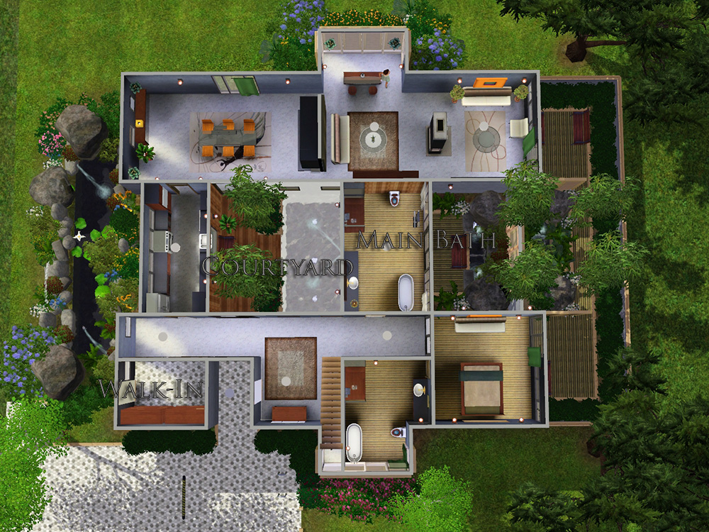 Mod the sims mundare house for House designs with courtyard in the middle