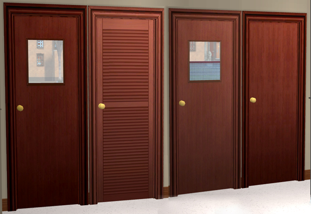 x & Mod The Sims - Plain Doors with Doorknobs and Matching Dummy Doors