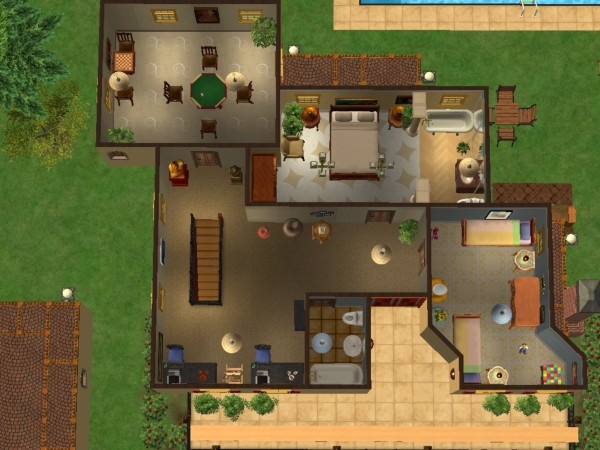 Mod the sims casa de rosas fully furnished no custom for Sims 4 piani di casa