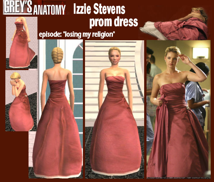 Mod The Sims - Izzie\'s prom dress as seen on greys anatomy