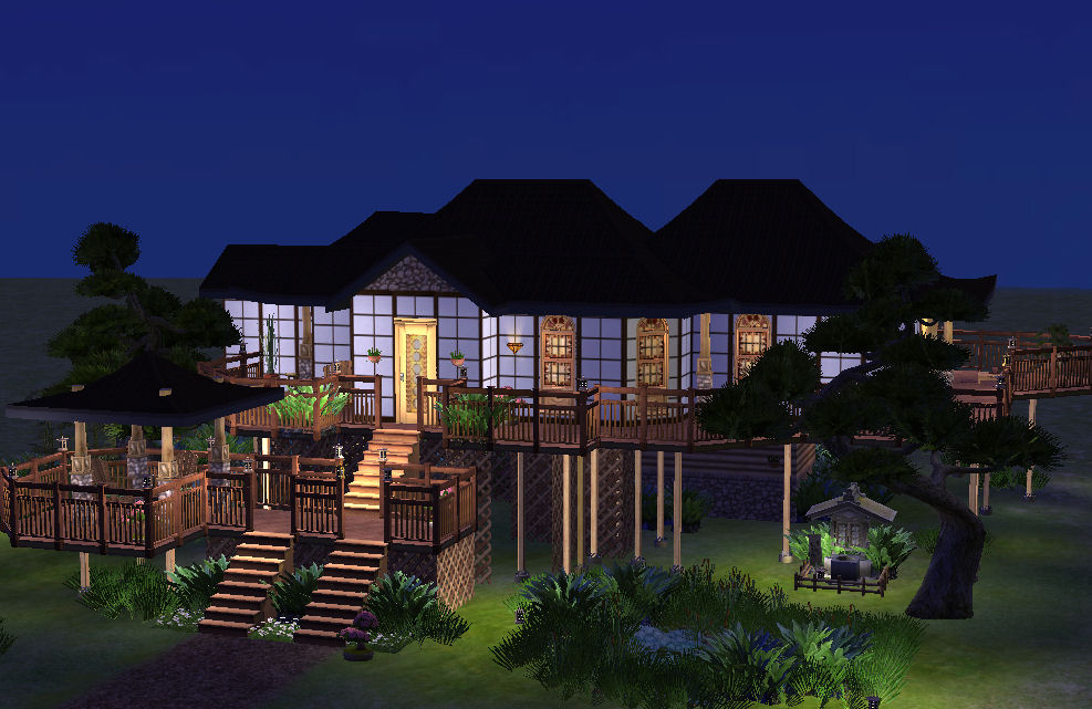 Mod the sims japanese asian house no cc for Asian houses photos