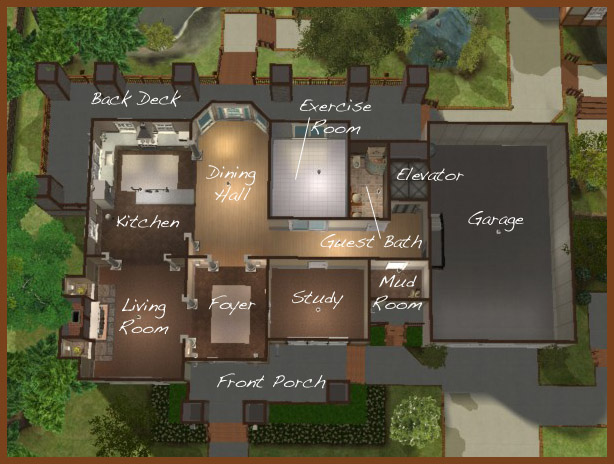 Mod the sims the lake house potter 39 s grove collection for Sims 2 floor plans