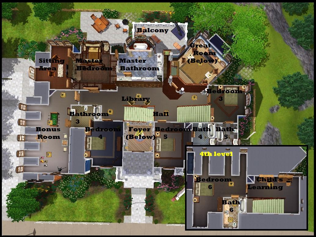 Mod the sims 250 redwood parkway for Sims 3 6 bedroom house