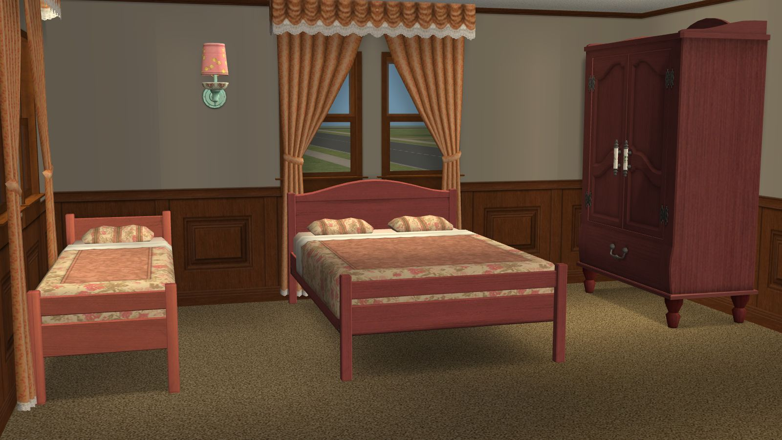 Mod the sims recolors of 2 base game beds matching base for Matching bed and dresser