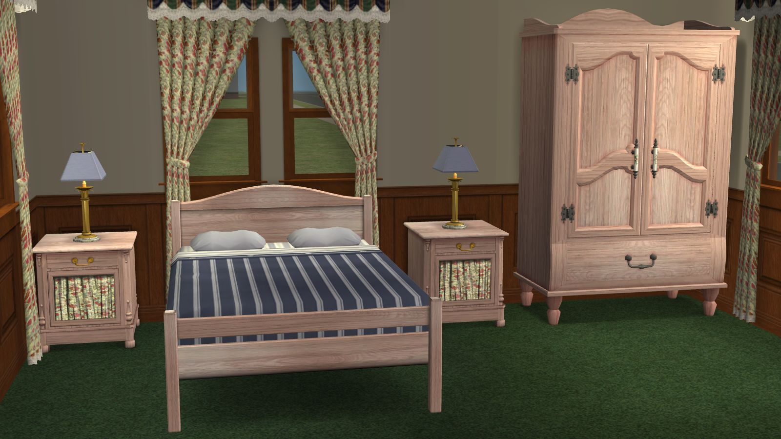 Mod the sims recolors of base game dresser and end table for Matching bed and dresser
