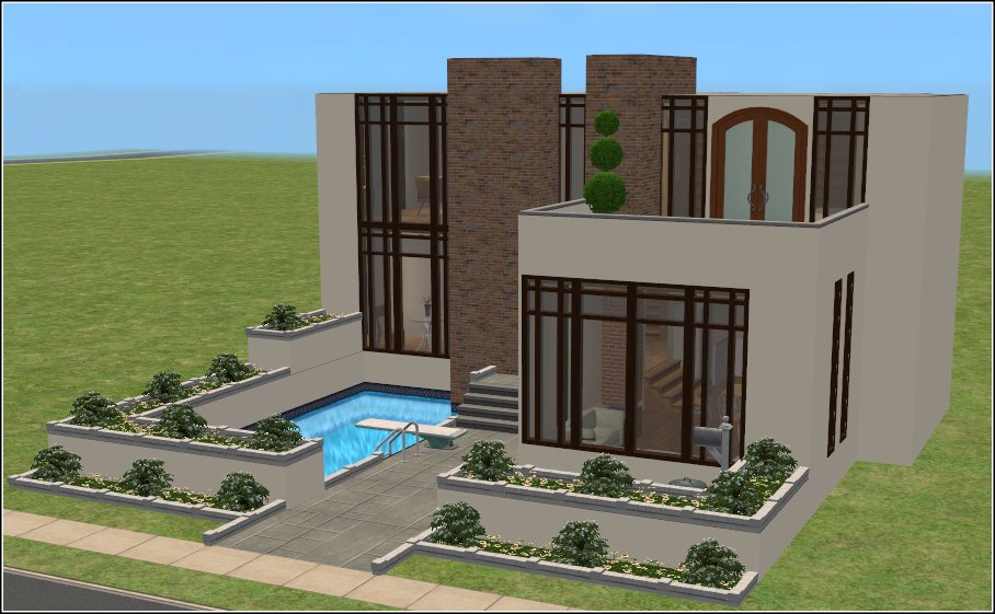 Mod the sims casa moderna 2 bed 3 bath modern family for Casa moderna 1 8