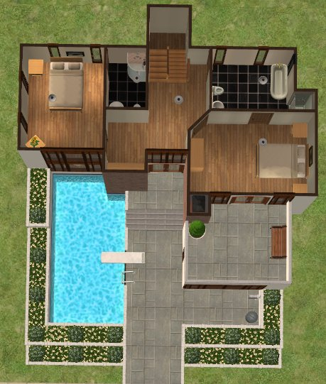 Mod the sims casa moderna 2 bed 3 bath modern family for Casa moderna los sims 3