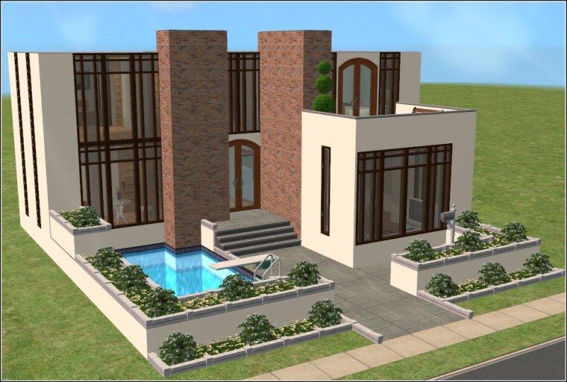Mod the sims casa moderna 2 bed 3 bath modern family for Casa moderna survival minecraft