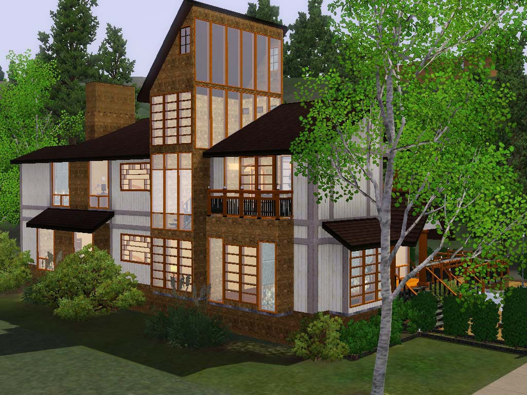 Mod the sims contemporary hillside house for Modern house design on hillside