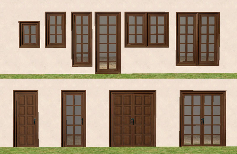 Mod the sims torrox spanish southwestern build set part for Front door and window set