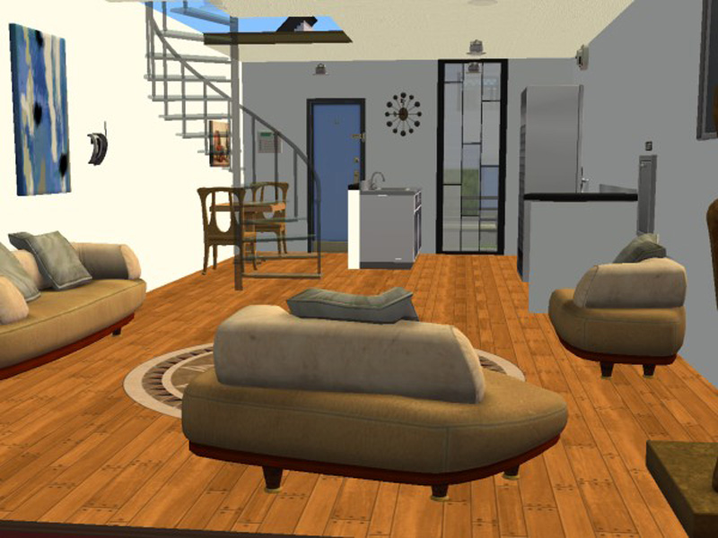 Mod the sims reality show inspired loft apartments for Living room 5x3