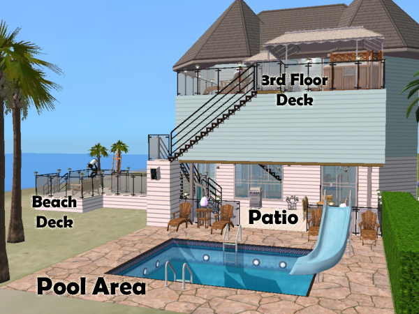 Mod the sims 3324 sandy foot lane 4 bed 3 bath beach lot for Pool design sims 3