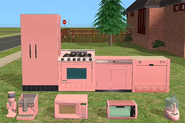 mod the sims - my version of the salmon pink kitchen appliances