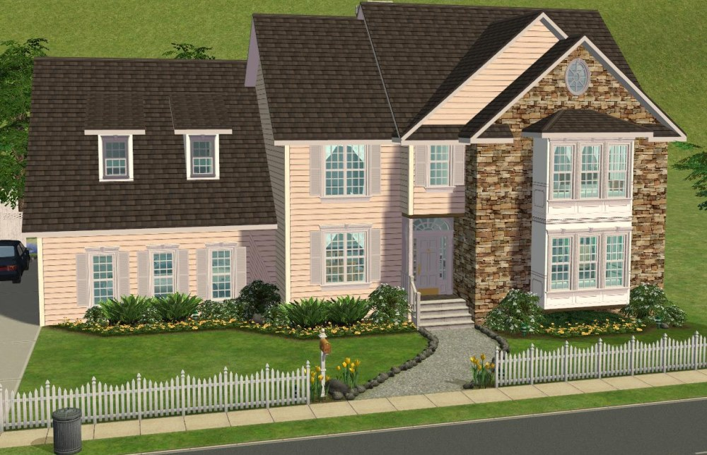 Mod the sims 5 bedroom colonial style house my 50th for 5 bedroom house ideas