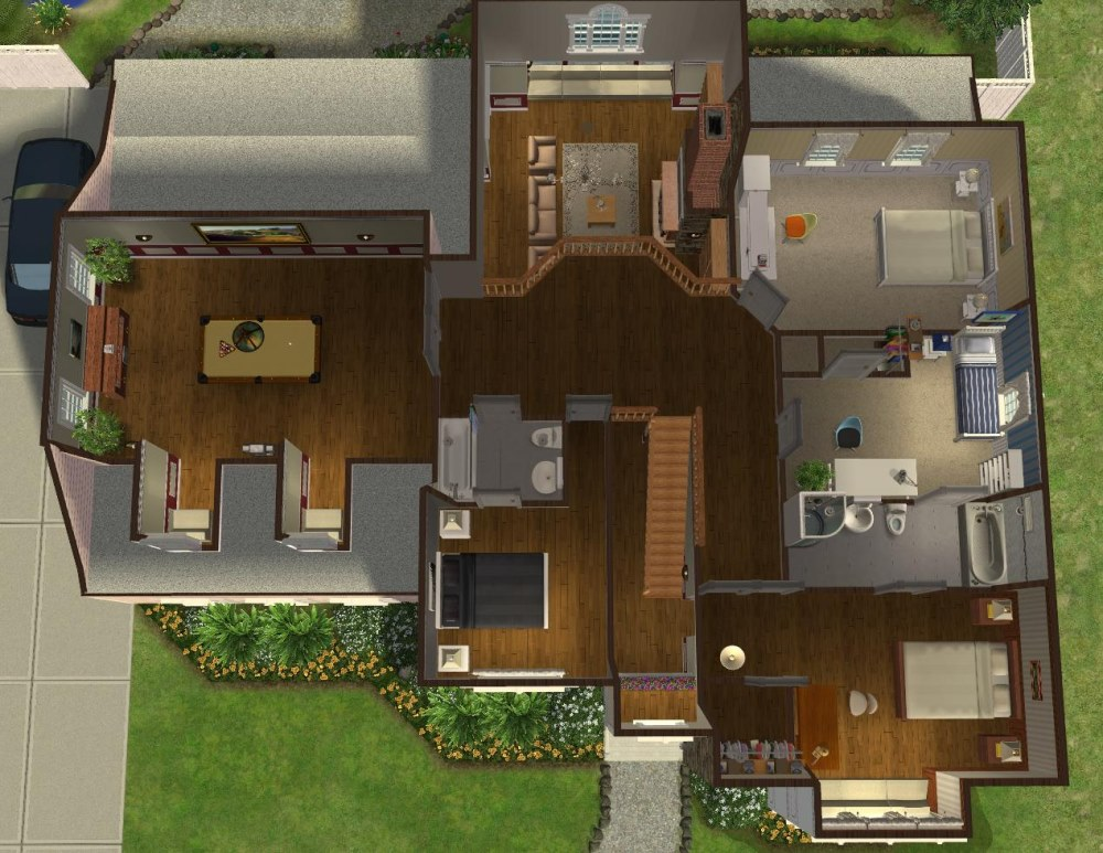Mod the sims 5 bedroom colonial style house my 50th for Sims 3 6 bedroom house