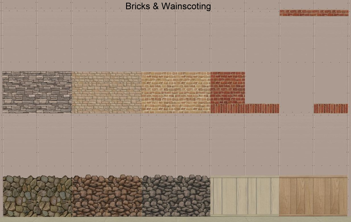 Mod The Sims - Set of Recolours for Pixel's wall Overlay ... Wainscoting Bo on