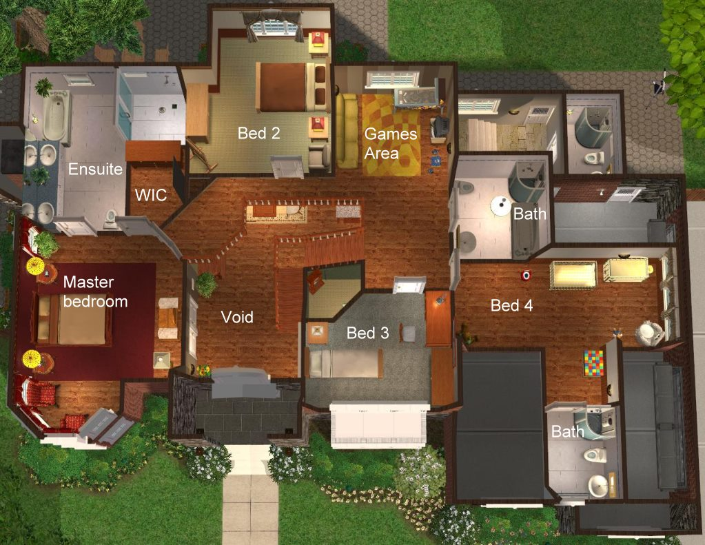 Mod the sims 4 bedroom 39 new american 39 style home - Home decorating style names plan ...