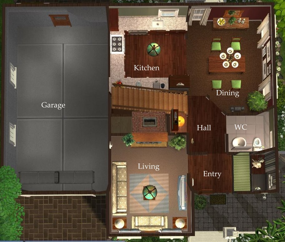 Mod the sims 3 bedroom green country style home for Sims 3 6 bedroom house
