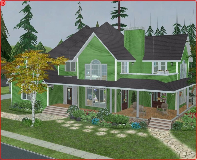 Mod the sims green craftsman country style 3 bedroom house for Sims 3 6 bedroom house