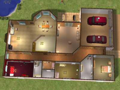 Mod the sims 3 bedroom family house no cc for Sims 3 6 bedroom house