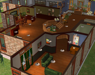 mod the sims - two story with sunken living room, foundation, and