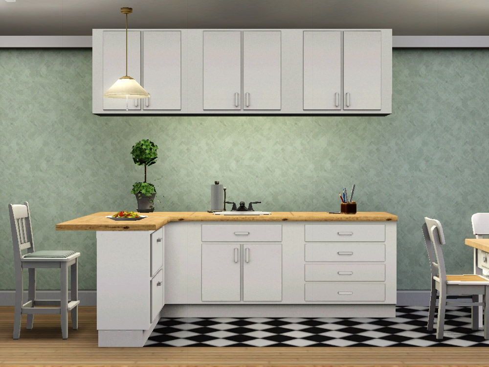 Mod the sims simple kitchen counters islands cabinets for Kitchen counter cabinet