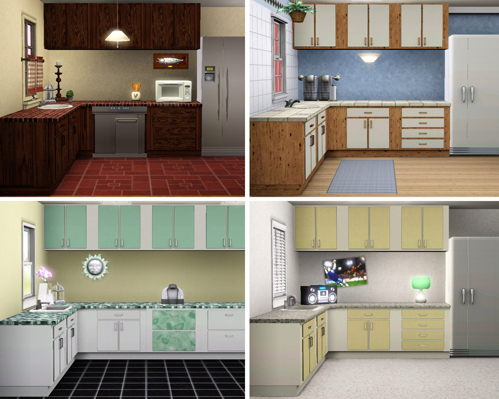 Mod the sims simple kitchen counters islands cabinets for Kitchen picture decor