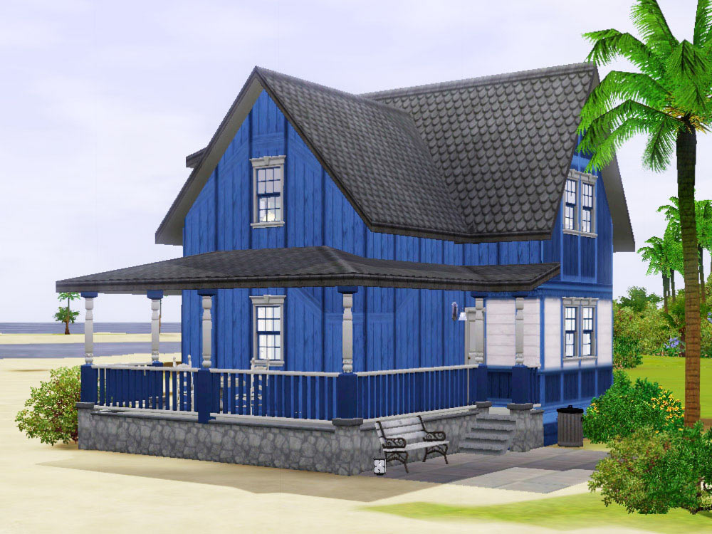 mod the sims blue beach house under no cc. Black Bedroom Furniture Sets. Home Design Ideas